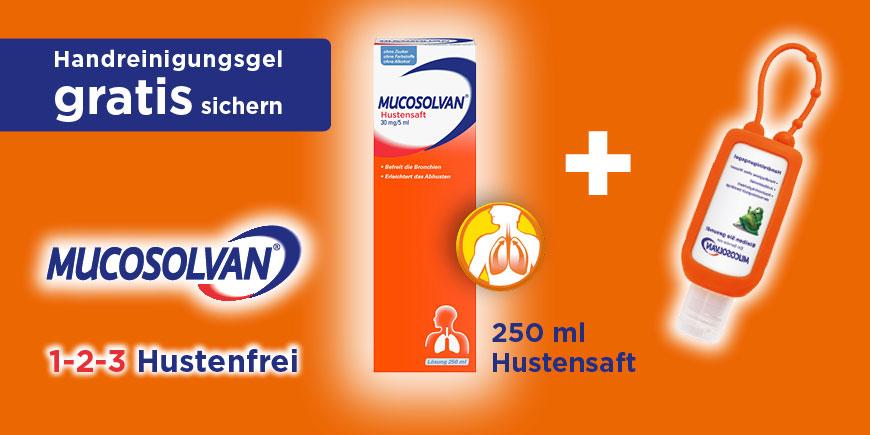 Mucosolvan Hustensaft plus gratis Handreinigungsgel