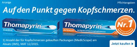 Thomapyrin – Auf den Punkt gegen Kopfschmerzen.