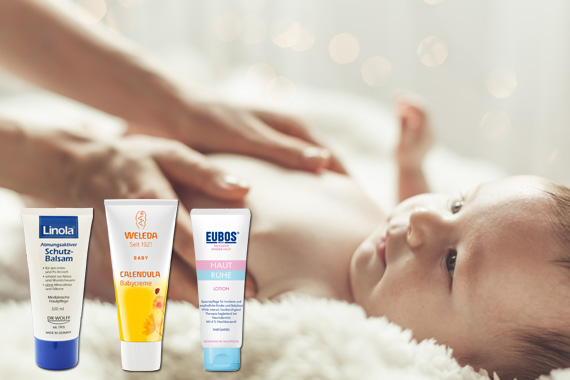 Bild-Text-Teaser Mutter Kind Babypflege